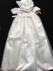Kinder Christening Gown & Bonnet Long Ivory 6-12 mths