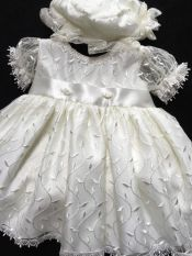 Christening Dress, Bonnet & Knickerbockers Ivory 3-6 mths