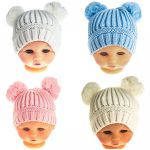 Soft Touch Two Pom Pom Hat 0-6 mths - Blue, Pink, White or Cream