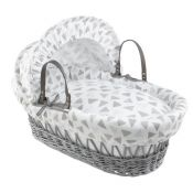 CLAIR DE LUNE Wicker Moses Basket Grey with Sparkling Muslin Drapes