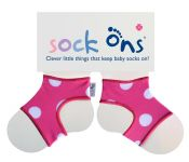 Sock Ons Pink Spot 0-6 or 6-12 mths